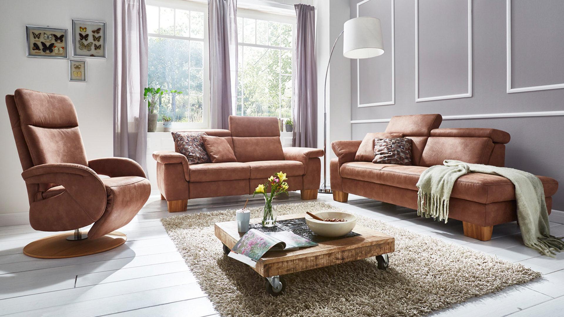 25 Sitzer Als Sofa Bzw Couch Haselnussfarbene Mikrofaser Büffel