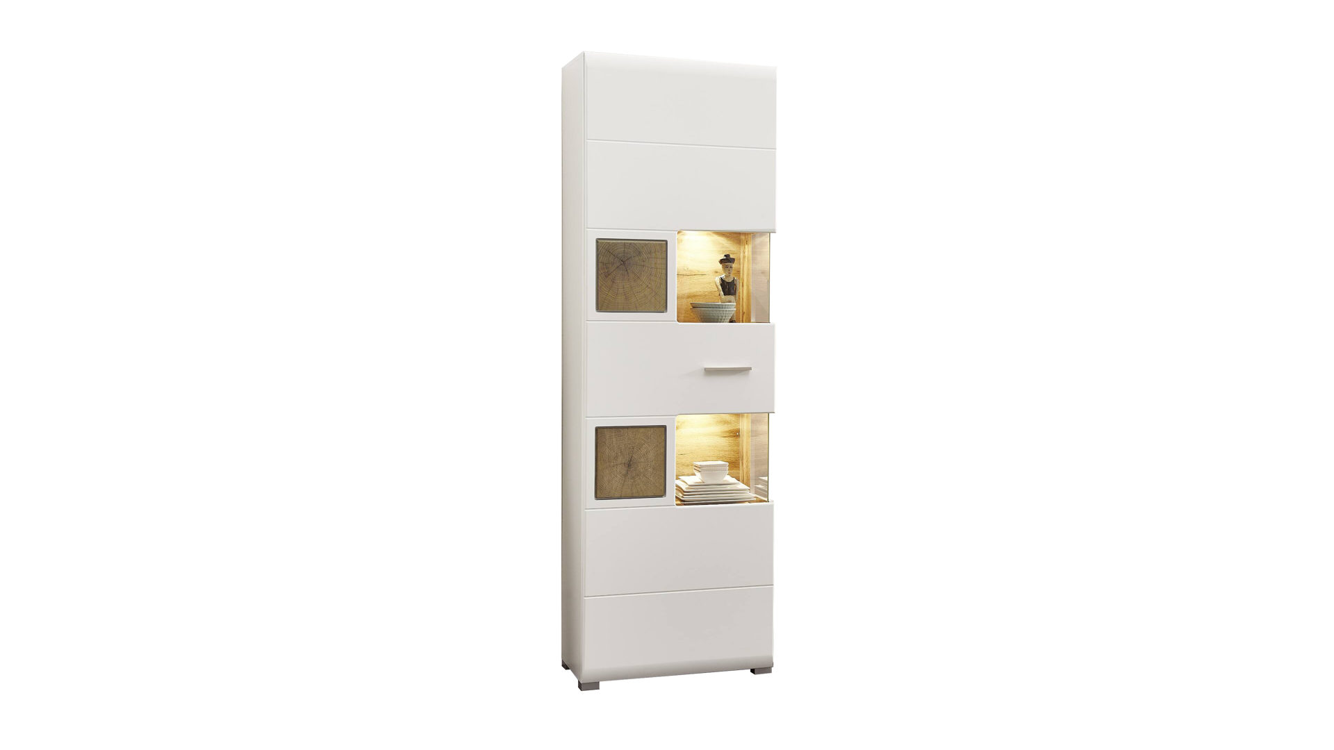 Vitrine Innostyle Aus Holz In Weiß Vitrinenschrank Als Wohnzimmermöbel  Mattweiße U0026 Holzfarbene Kunststoffoberflächen U2013 Eine Tür