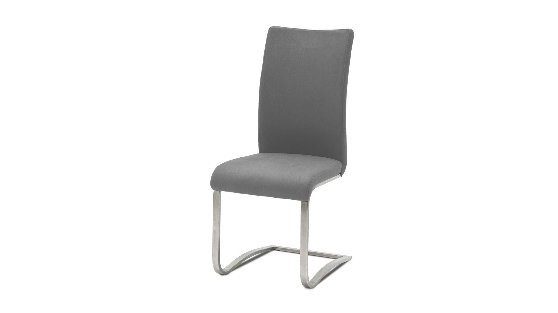 Leder-Schwingstuhl, ein Dielenmöbel oder Büromöbel , graues Leder ...
