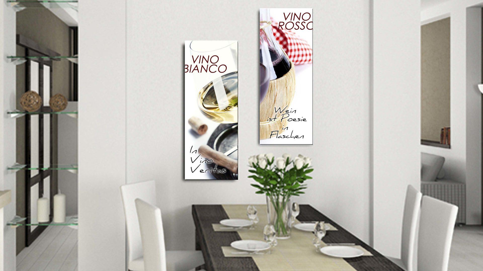 Glasbild Vino Bianco, 4 mm Floatglas mit Motiv - ca. 30 x 80 cm ...